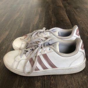 Pink & white adidas tennis shoe